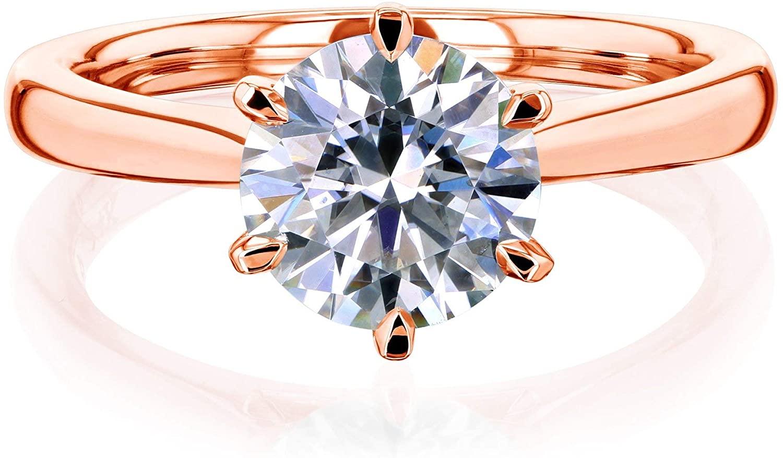 Kobelli 1.5ct Round Moissanite 6-Prong Ring (FG/VS)