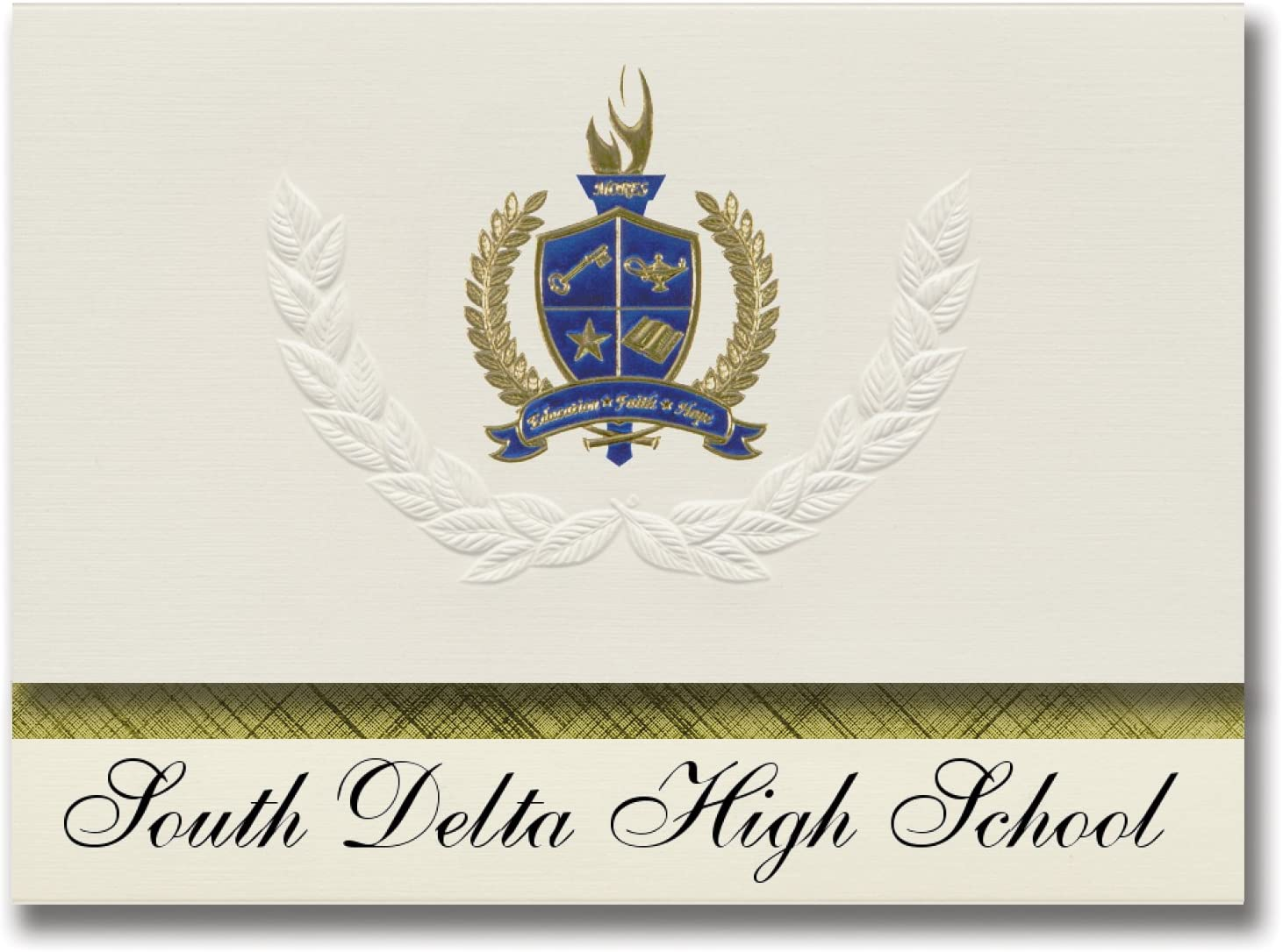 Signature Announcements South Delta High School (Rolling Fork, MS) Graduation Announcements, Presidential style, Basic package of 25 with Gold & Blue Metallic Foil seal