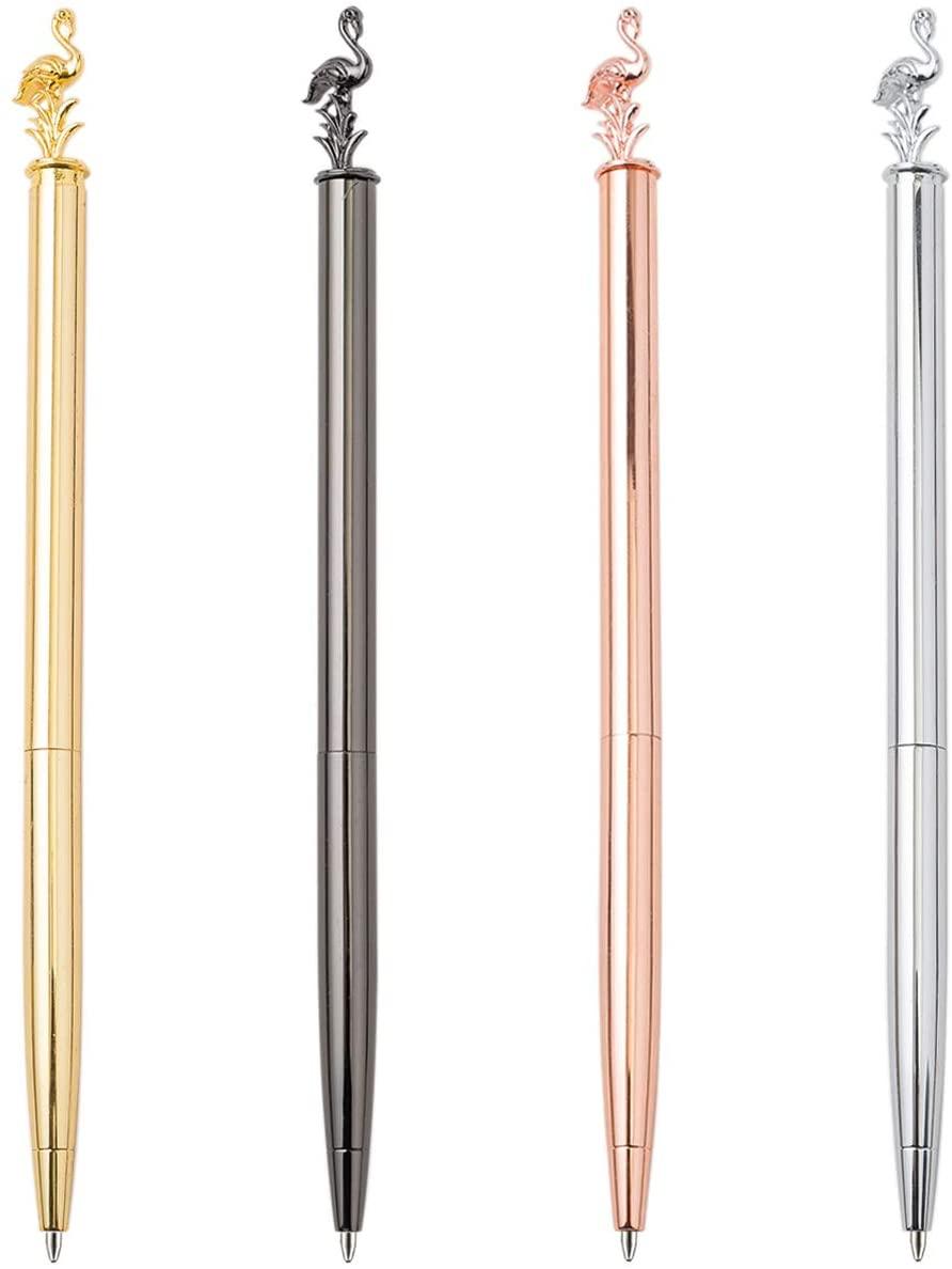 PASISIBICK Flamingo Ballpoint Pens with Black Ink,Bling Metal Gift Pen for Women(Pack 4)