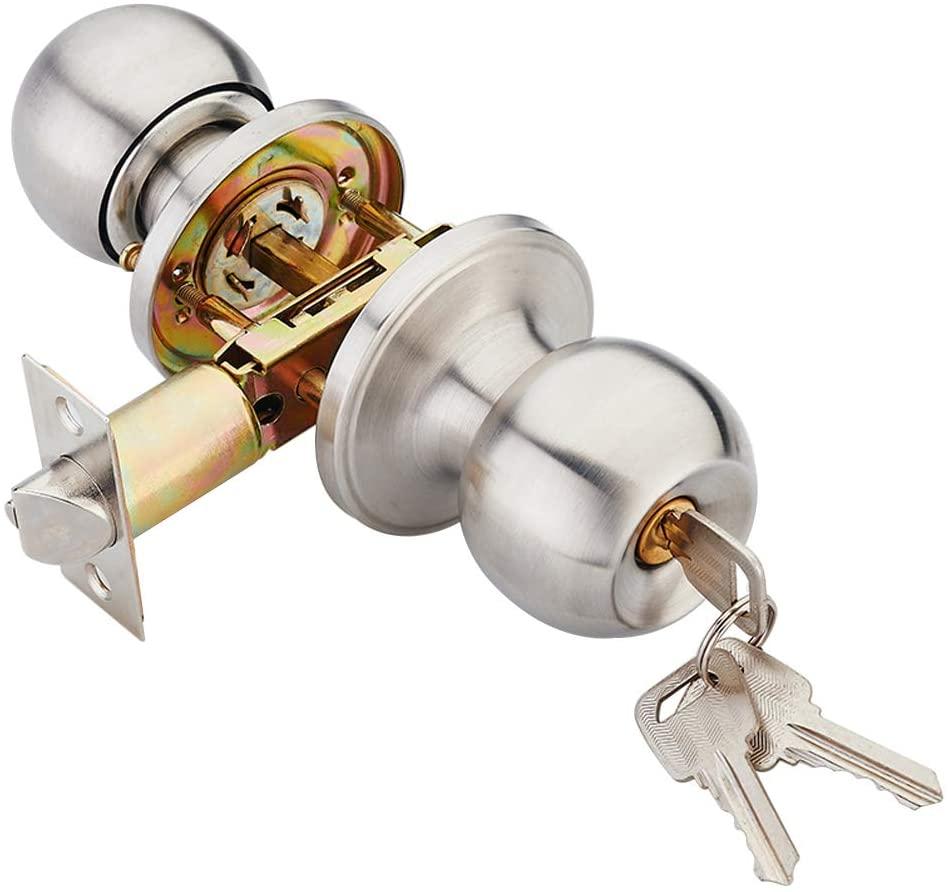 Three-bar lock aluminum plastic steel door spherical door lock bathroom bedroom single tongue door lock