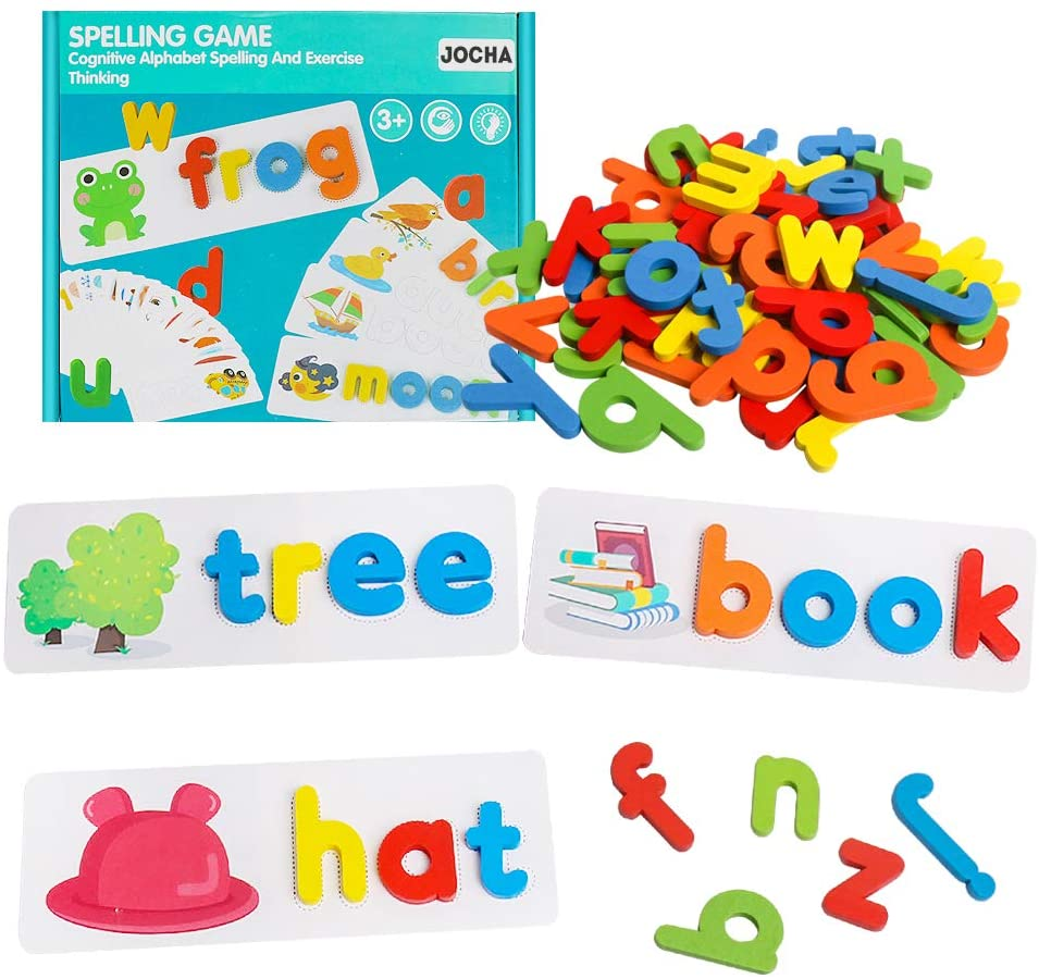 JOCHA Montessori Spell Learning Sight Words Games Wooden ABC Alphabet Flash Cards Matching Shape Letter Puzzles Preschool Educational STEM Toys for Kids Toddlers Boys Girls Age 3+