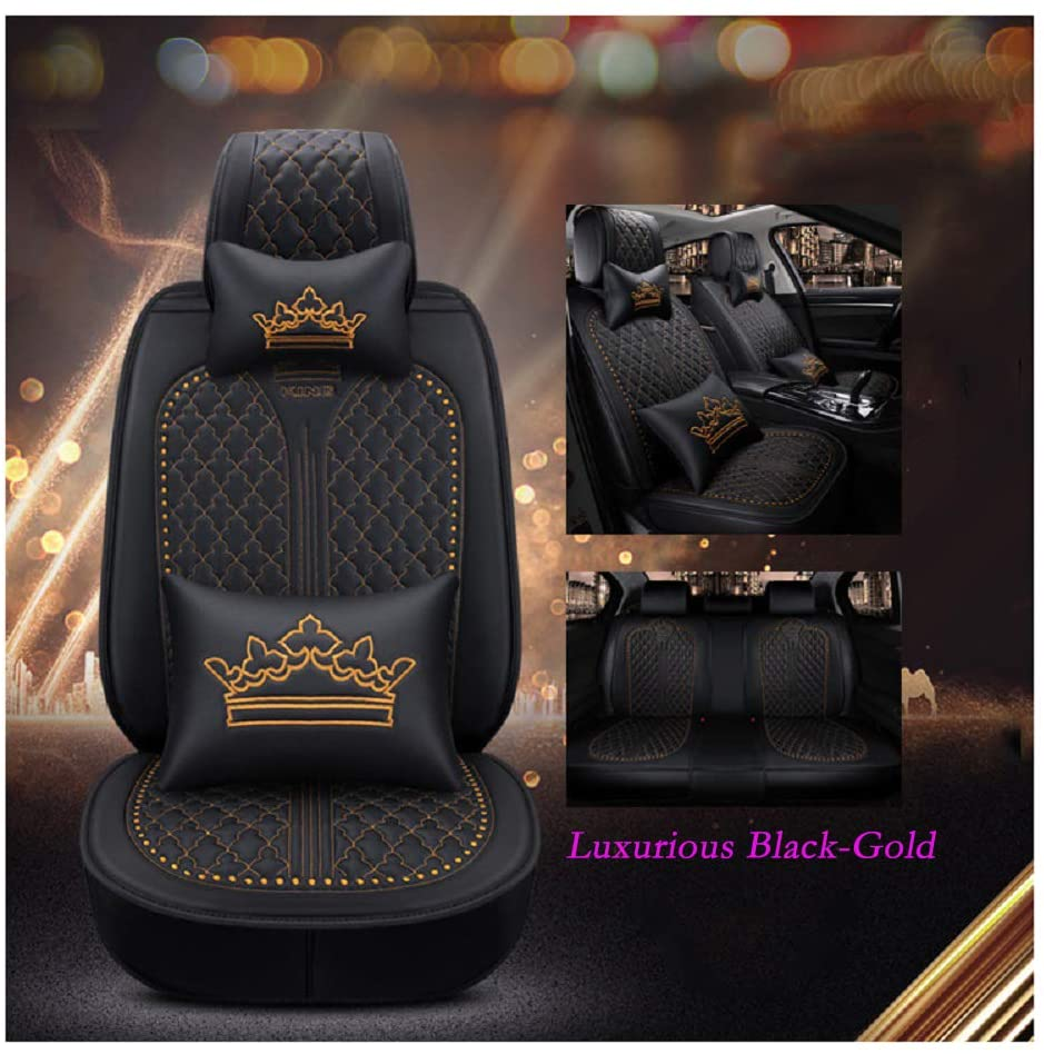 OUTOS Luxury Auto Car Seat Covers 5 Seats Full Set Universal Fit (Luxurious Black-Gold)