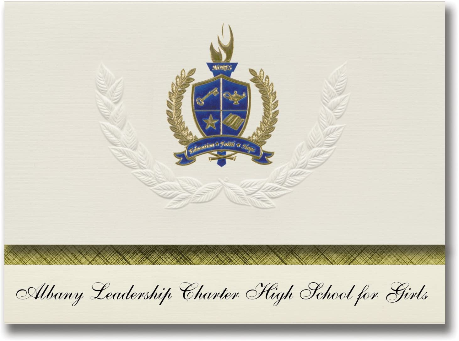 Signature Announcements Albany Leadership Charter High School for Girls (Albany, NY) Graduation Announcements, Presidential Elite Pack 25 w/Gold & Blue Foil seal