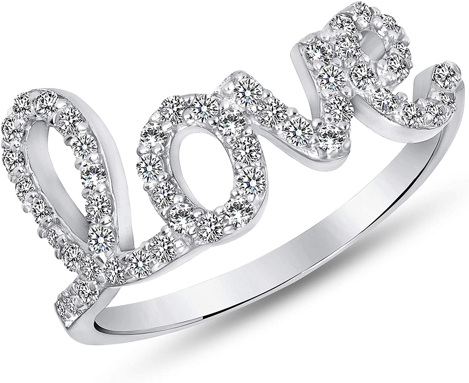 Jewelry by Debbie 925 Sterling Silver Love Ring Cz Pave Rhodium Plated