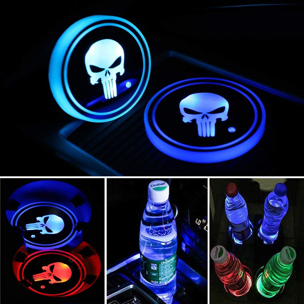 Meserparts 2 Pack LED Cup Holder Lights, Car Coaster with 7 Colors Changing USB Charging Mat, Luminescent Cup Pad Interior Atmosphere Lamp Decoration Light