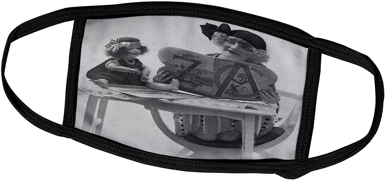 3dRose Scenes from The Past Vintage Postcards - Story Time Vintage German Postcard Grayscale - Face Masks (fm_16121_2)