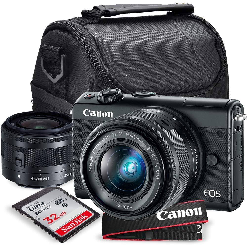 Canon EOS M100 Mirrorless Camera w/ 15-45mm Lens (Black) + 32GB + Charger + Basic Xpix Accessory Bundle