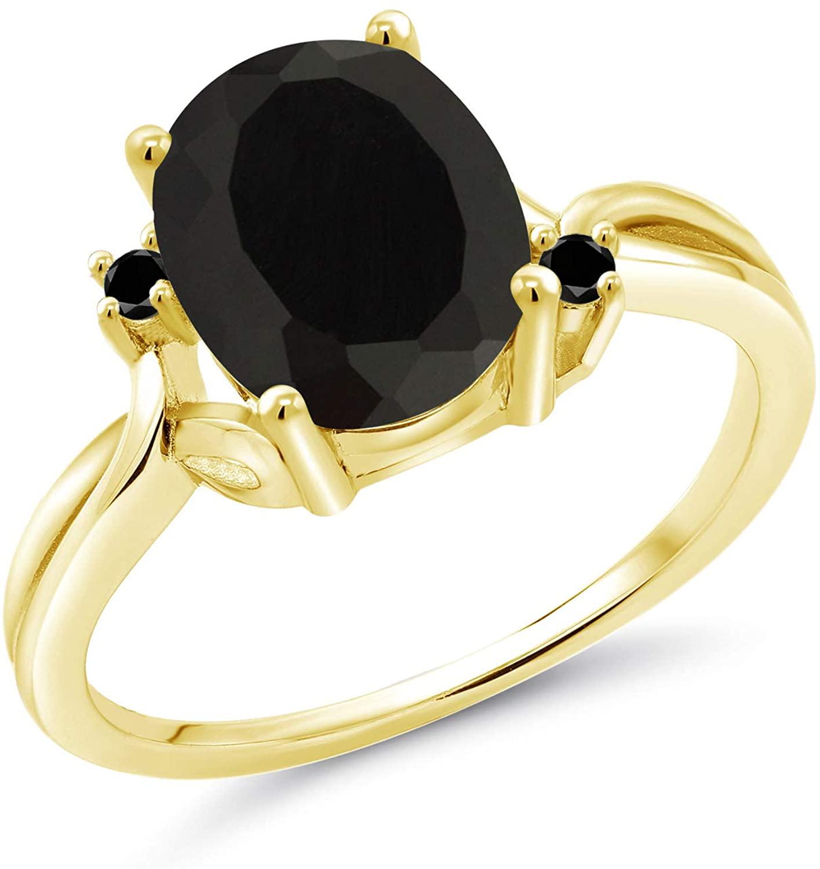 Gem Stone King 2.53 Ct Oval Black Onyx Black Diamond 18K Yellow Gold Plated Silver Ring