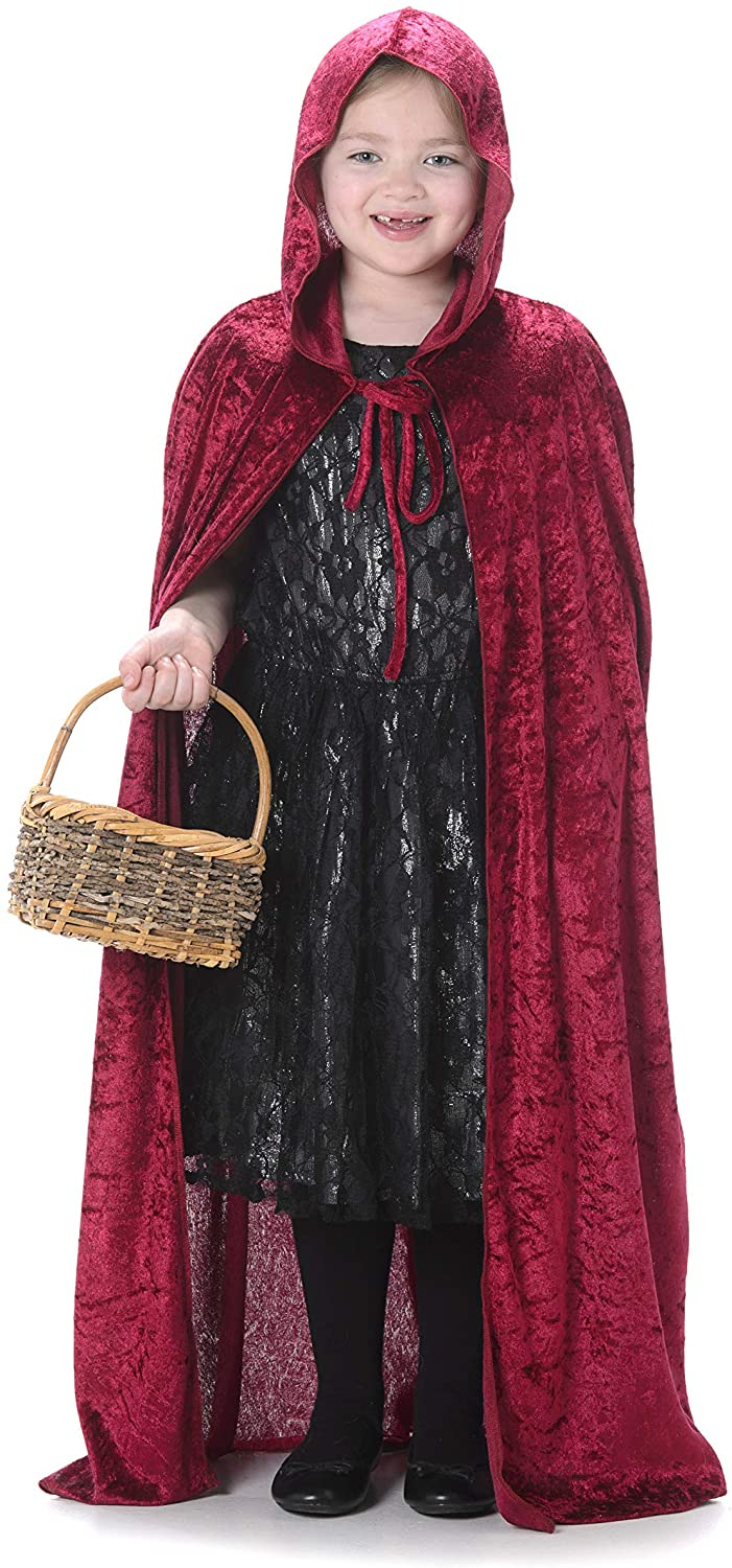Red Hooded Cape Cloak - Kids Storybook Fantasy Costume for Halloween Cosplay