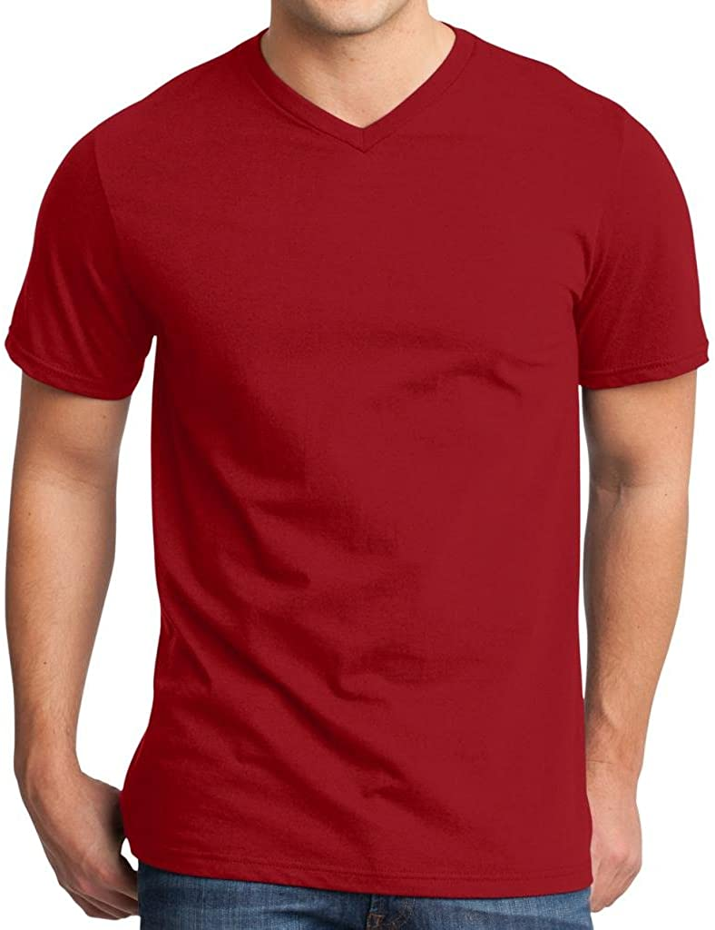 Yoga Clothing For You Mens Modern 100% Cotton V-Neck Red Tee
