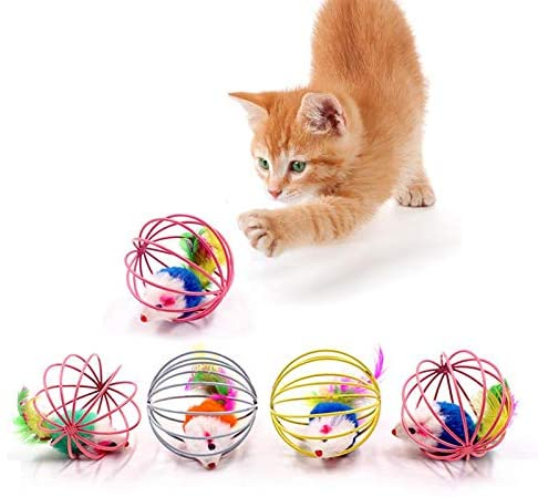 viruchshop Cat Interactive Toy Stick Feather Wand with Small Bell Mouse Cage Toys Plastic Artificial Colorful Cat Teaser Toy Pet Supplies