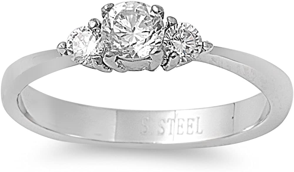 CloseoutWarehouse Tri Stone Round Cubic Zirconia Ring Stainless Steel