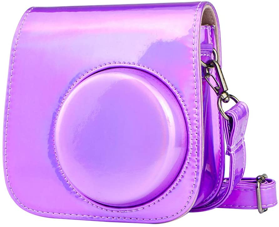 Blummy PU Leather Instax Mini 9 Camera Case for Fujifilm Instax Mini 8/ Mini 8+/ Mini 9 Instant Camera with Adjustable Strap and Pocket-purple