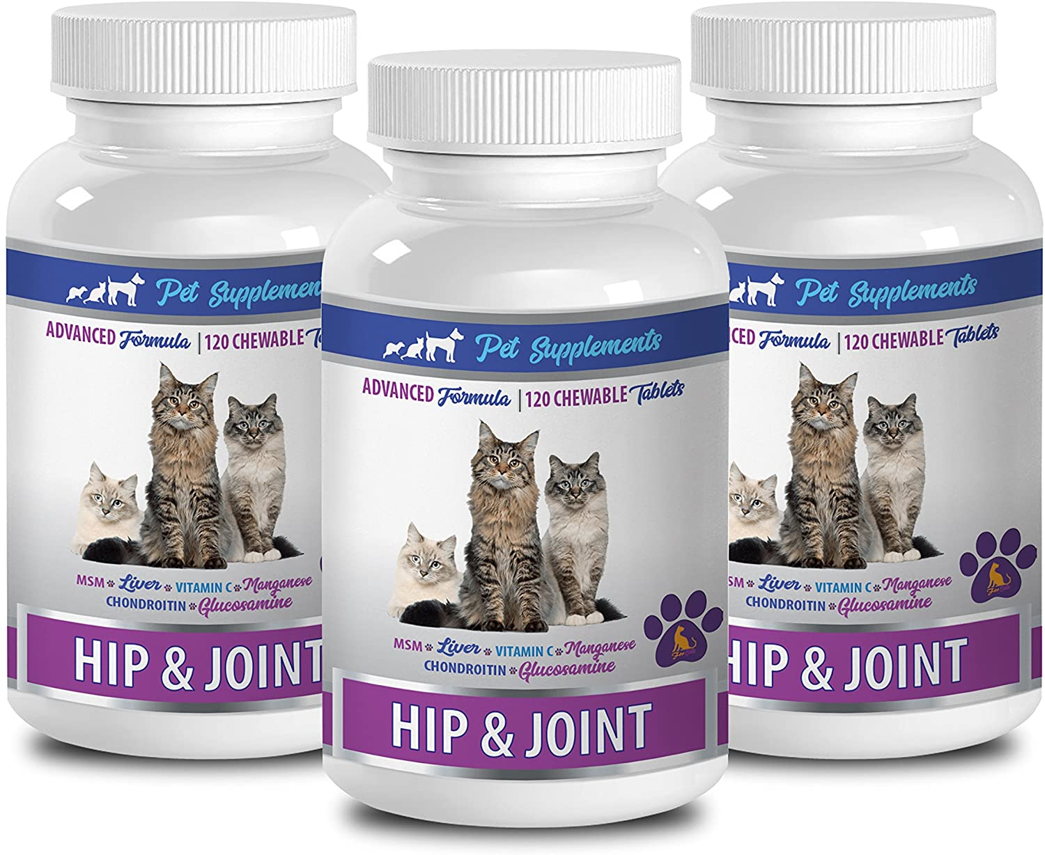 cat immune system support - HIP AND JOINT - FOR CATS - HEALTH AND CARE - CHEWABLE - cat joint supplements - 3 Bottle (360 Chews)