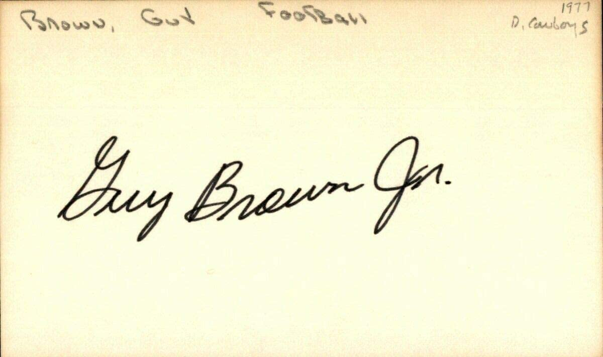 Guy Brown Signed Index Card 3x5 Autographed Cowboys 64015