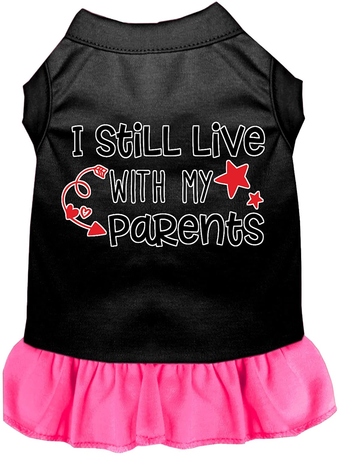 Mirage Pet Product Still Live with My Parents Screen Print Dog Dress Black with Bright Pink Lg (14)