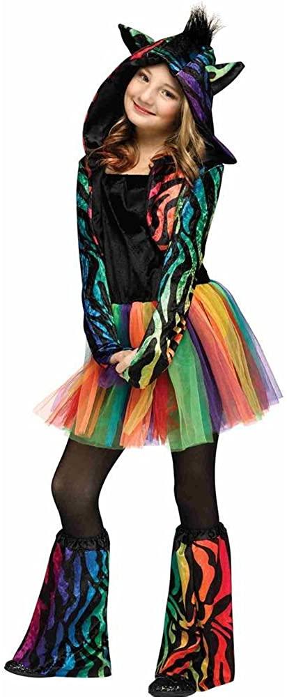 Neon Rainbow Zebra Kids Costume