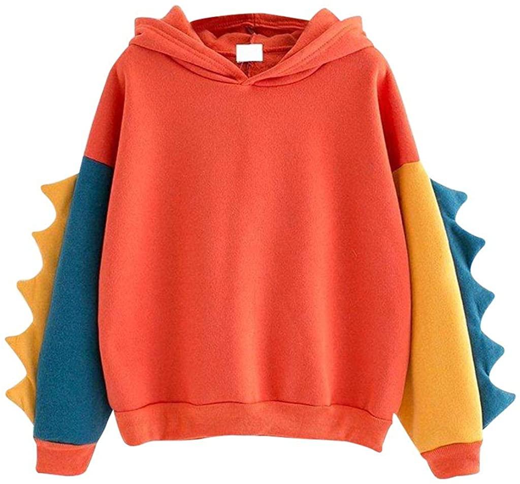 WUAI-Women Hooded Sweatshirt Casual Loose Color Block Long Sleeve Dinosaur Hoodies Pullover Tops Outerwear