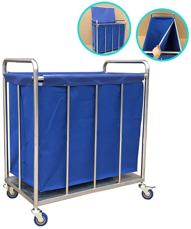 PLLP Hospital Trolley, Medical Supplies Rack,Medical Cart Heavy Duty Round Commercial Laundry Hamper with Cover, Blue Laundry Sorter Linen Cart with Removable Bag and Wheels,Blue,80×50×88cm