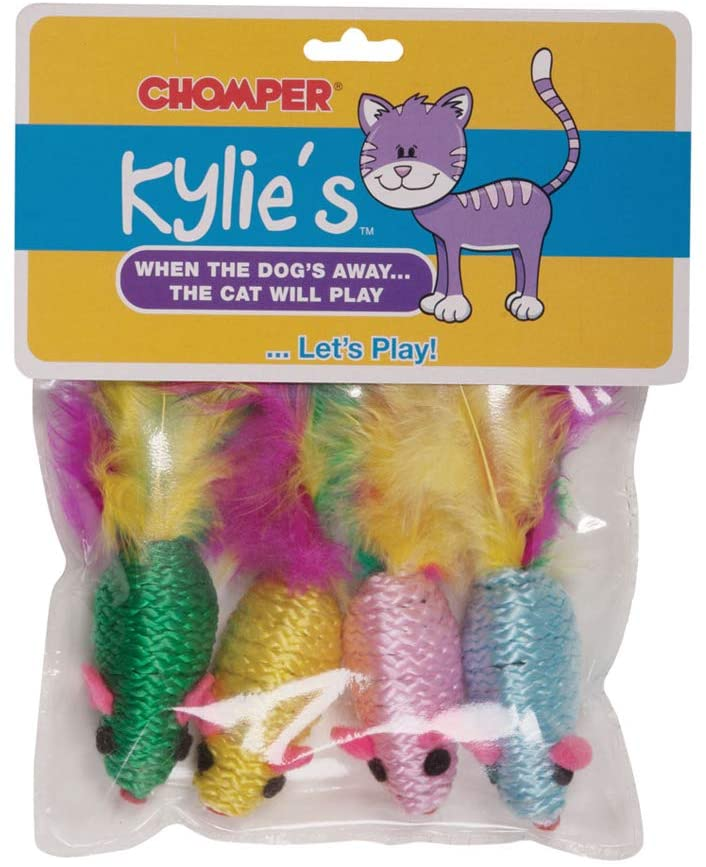 Feather Rattler Mice Cat Toys Colorful Catnip Filled 4