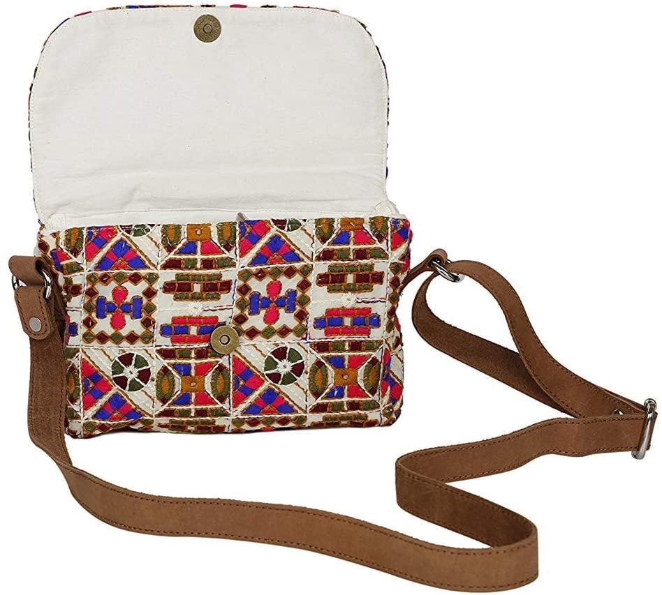storeindya Handcrafted Bag Cotton Satin Cross Body Pouch Women Kutch Embroidery Designer Sling Purse Christmas Housewarming Gift