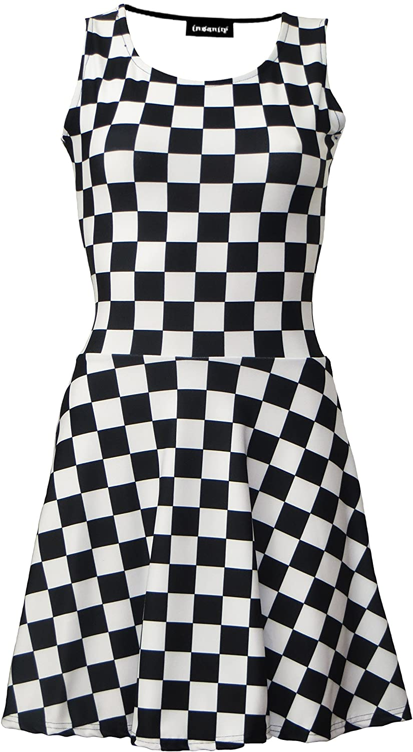 Insanity Clothing Monochrome Chequered Chess Board Print Skater Dress