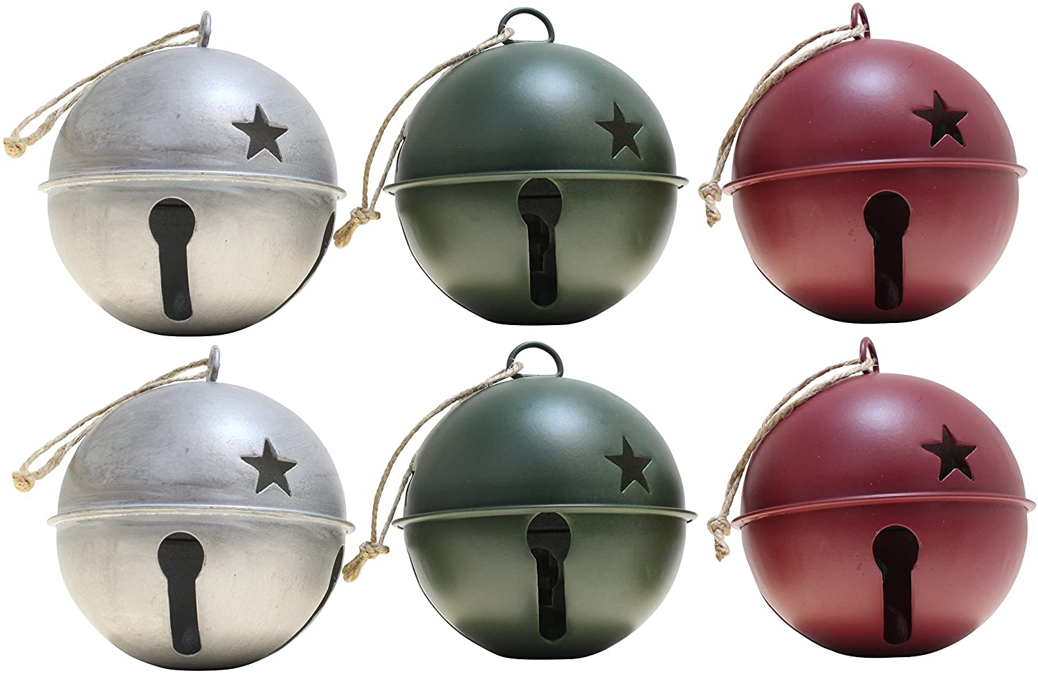 Haute Decor Jingle Bell Ornaments, 3.35-inch Diameter, 6-Pack (Assorted (Silver, Red & Green))