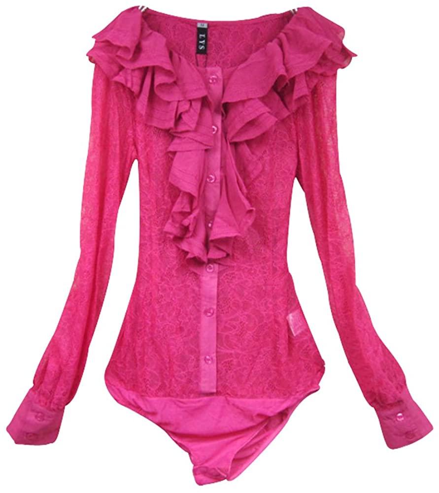 ZAMME Women's Slim OL Bodysuit Tops Blouse Button Down Classic Shirts Lace