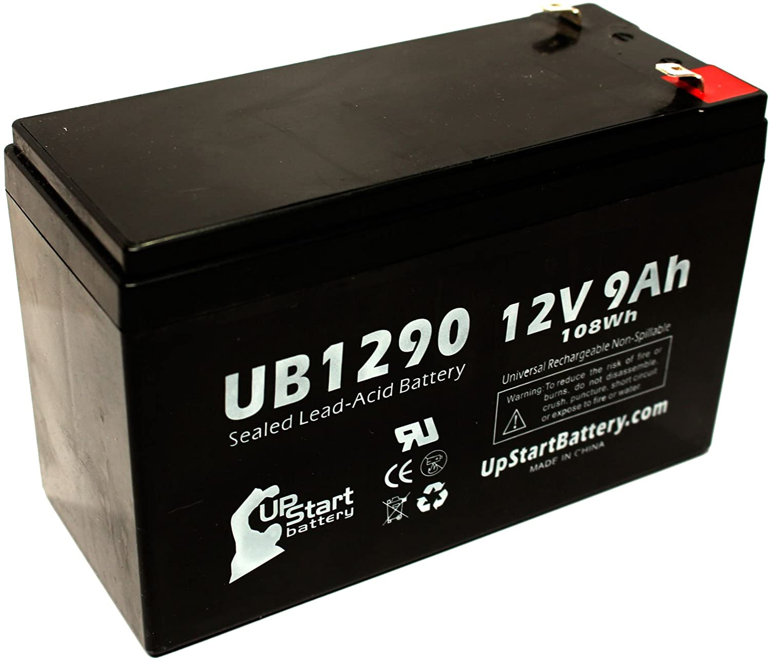 Replacement for Altronix AL300ULXR Battery - Replacement UB1290 Universal Sealed Lead Acid Battery (12V, 9Ah, 9000mAh, F1 Terminal, AGM, SLA) - Includes Two F1 to F2 Terminal Adapters
