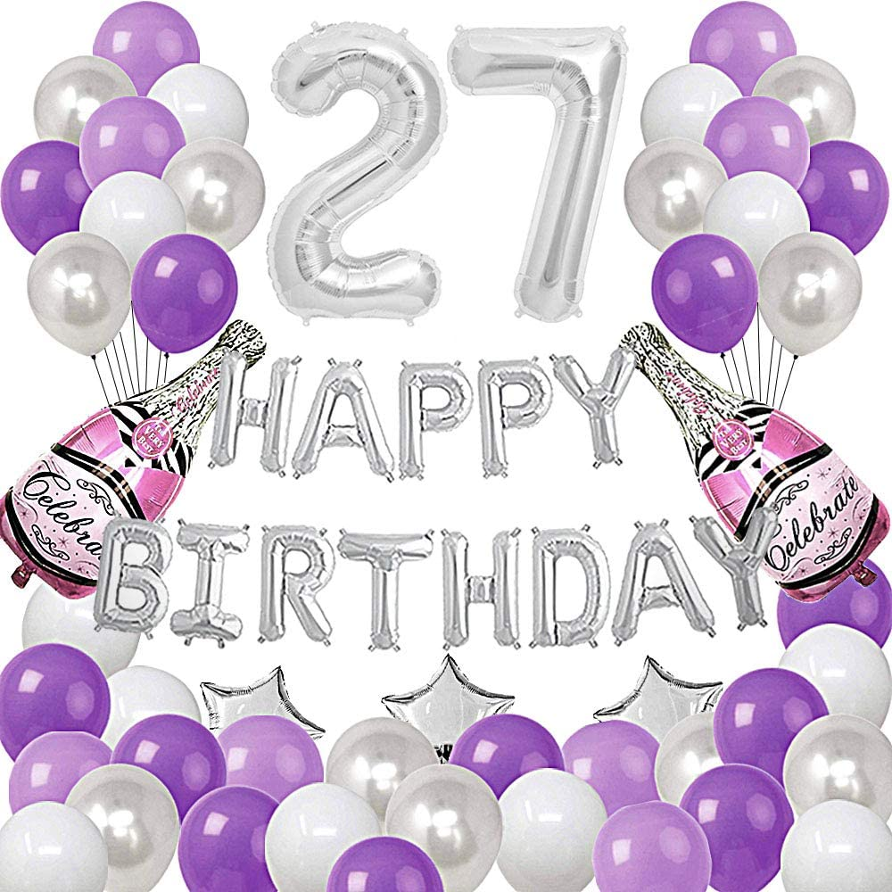 RBYOO Silver Number 27 Foil Balloons Happy Birthday Banner with 47Pcs Latex and Foil Balloons for 27th and 72nd Birthday Party Decoratons Purple Silver Theme Party Supplies