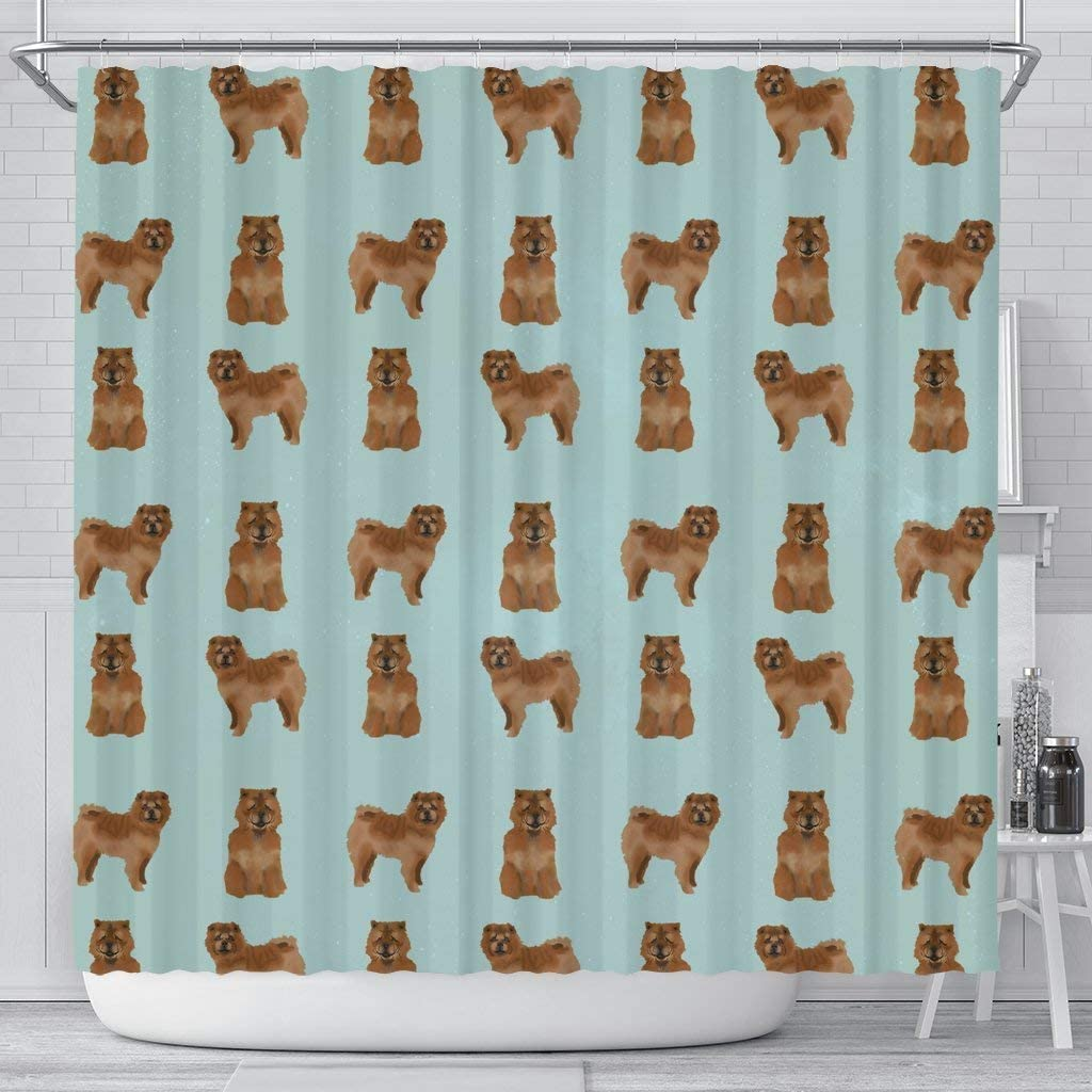 Paws With Attitude Cute Chow Chow Dog Pattern Print Shower Curtains