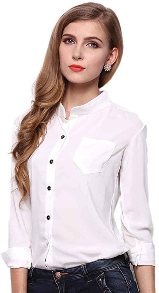 Mlotus Women's Chiffon Long Sleeve Button Down Casual Shirt Solid Blouse Top