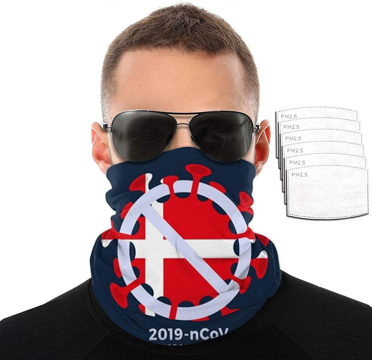 Bandana Neck Gaiter With Filter Illustration Denmark Flag Caution Coronav-irus Uv Mask Breathable Sport&Outdoor For Sport&Outdoor Summer