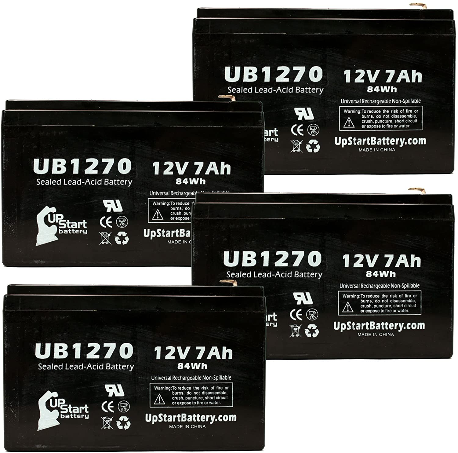 4 Pack Replacement for Kung Long WP7.2-12 Battery - Replacement UB1270 Universal Sealed Lead Acid Battery (12V, 7Ah, 7000mAh, F1 Terminal, AGM, SLA) - Includes 8 F1 to F2 Terminal Adapters