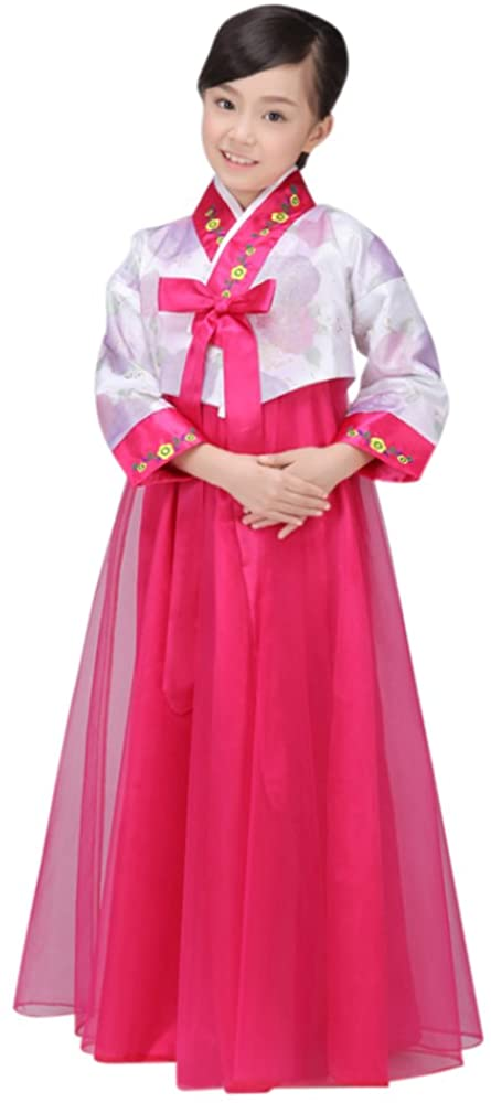 CRB Fashion Girls Traditional Kids Korean Hanbok Outfit Dress Costume (100cm, White/Dark Pink)