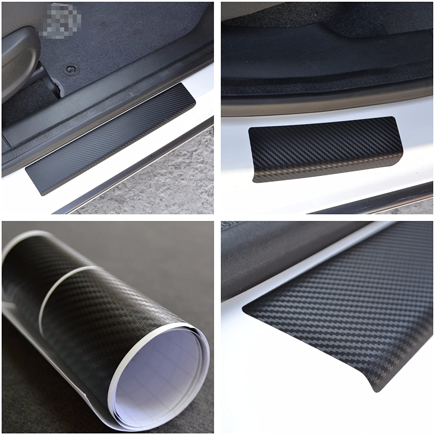 Door Sill Vinyl Wrap Scuff Protection Film fit Ford Kuga II 2013-2017 Black Carbon Fiber Texture Decals Entry Guard 4 pcs Kit Paint Protector