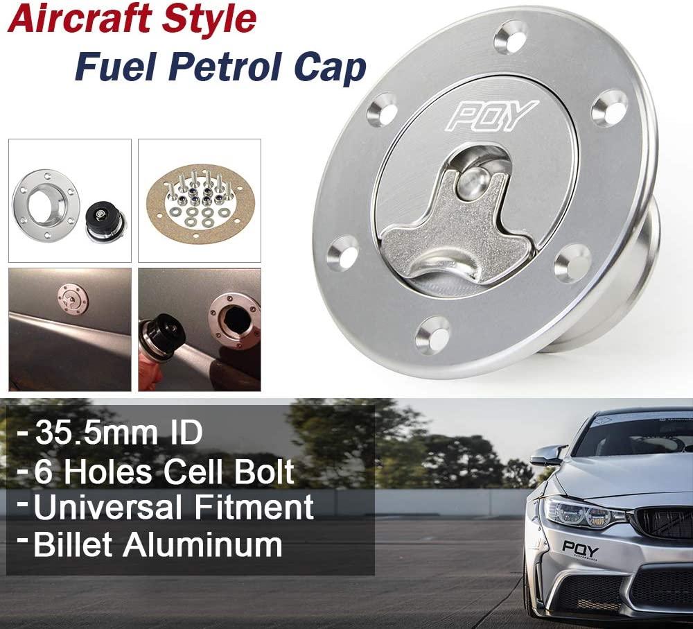 PQY Billet Aluminum Fuel Surge Tank Cap Fuel Cell Gas Cap with 6 Hole Anodized