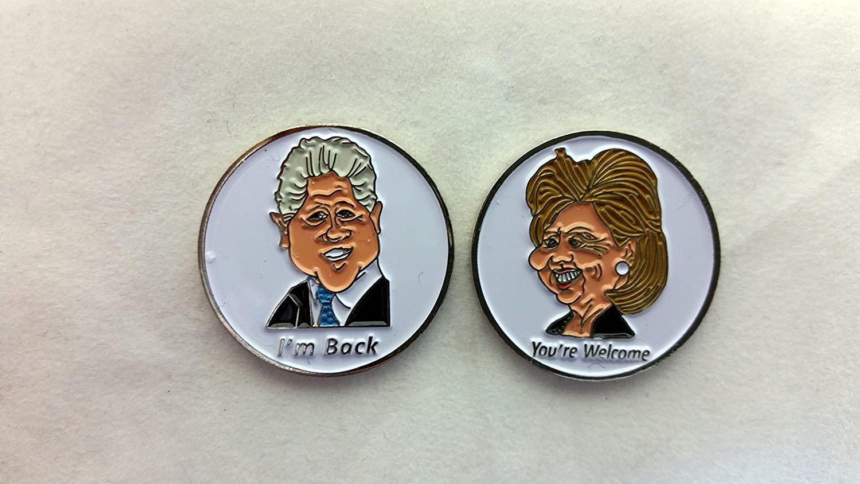 Global Tour Golf Bill & Hillary Clinton Double Sided Ball Marker