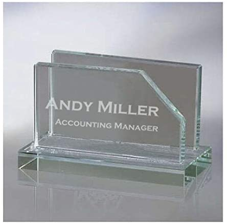 Daylor Engraved Glass Business Card Holder for Office Desk Personalized Custom