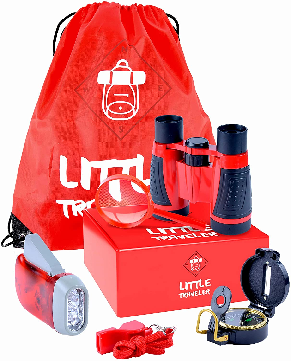 Outdoor Toys for Kids - Exploration kit [6 peaces] Non-Allergic Materials | Explorer Gear Play Set is great for Kids' Camping - Binoculars, Magnifying Glass, Whistle, Flashlight, Compass, Backpack.