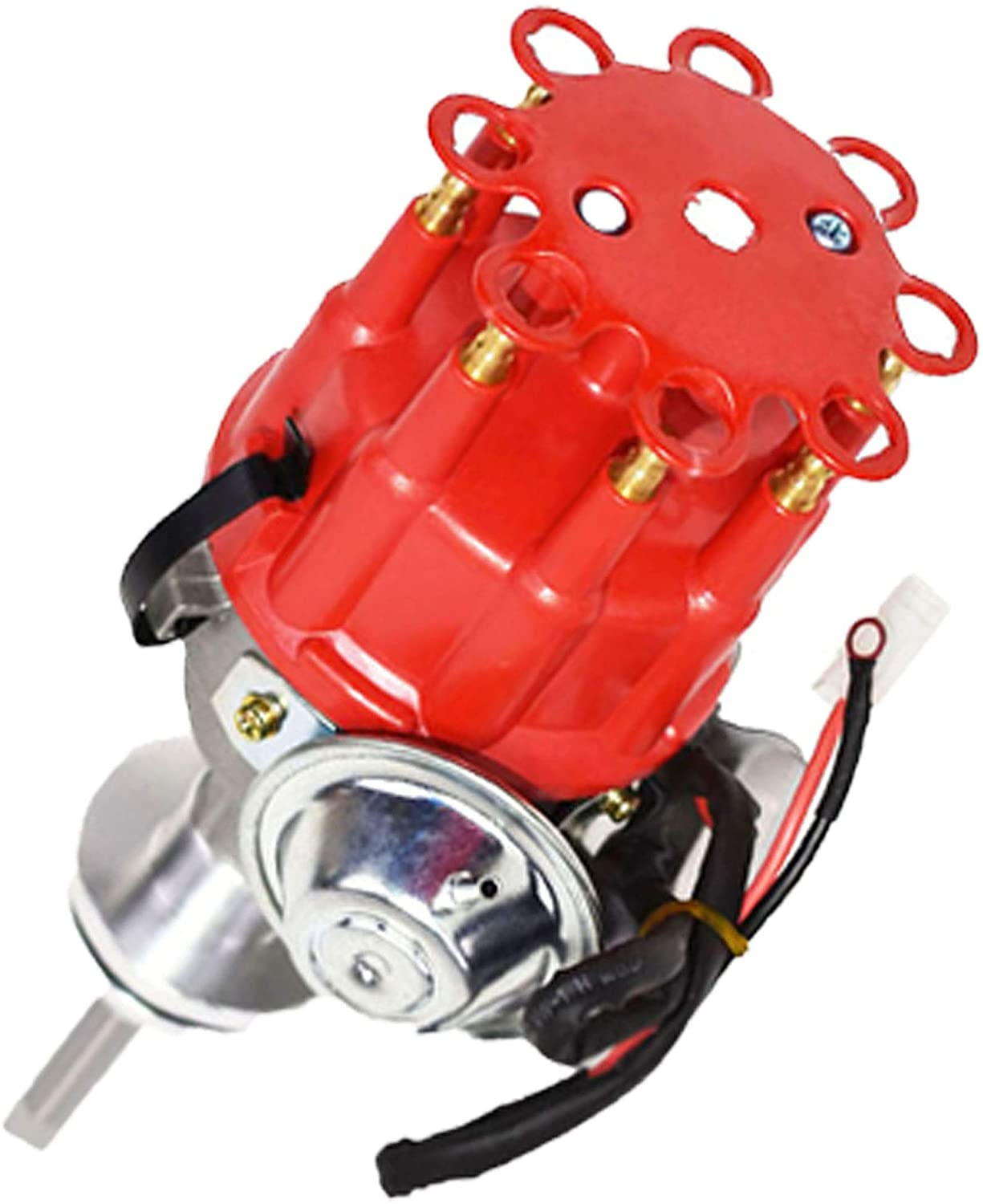 A-Team Performance Complete Ready to Run Distributor 8 Cylinders Compatible with Chrysler Dodge Mopar Big Block 413, 426, and 440 R2R Two-Wire Installation Red Cap