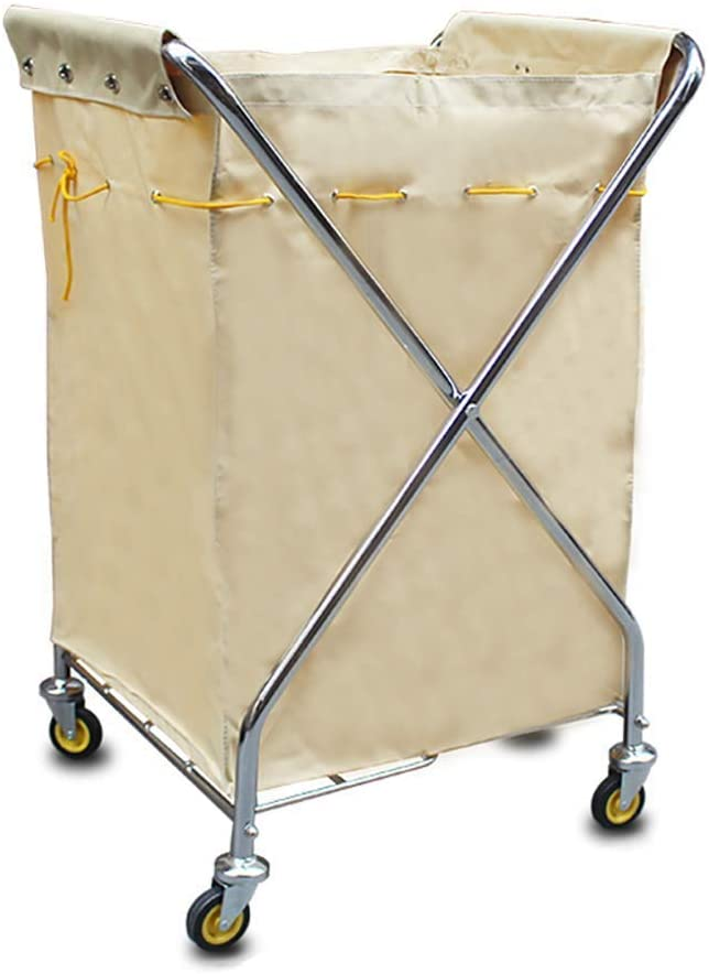 PLLP Hospital Trolley, Medical Supplies Rack,Medical Cart Tool Folding X-Type Hotel Linen Car, Mobile Storage Trolley Cart with Caster, Beige Room Hygiene Cleaning Car, 68×59×105Cm