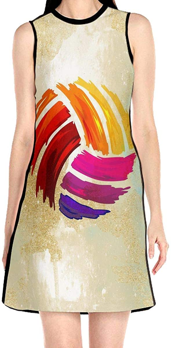 VJH-YY Colorful Volleyball Women's Sleeveless Dress Casual Slim A-Line Dress Tank Dresses