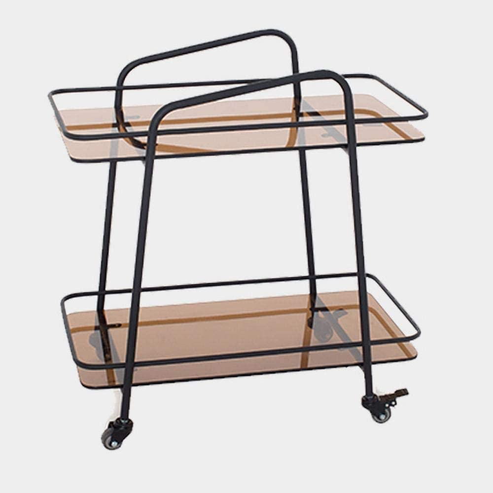 KDBEB 2-Tier Rolling Cart Storage with Casters,Black Steel Kitchen Storage Trolley for Office, Library Narrow Places