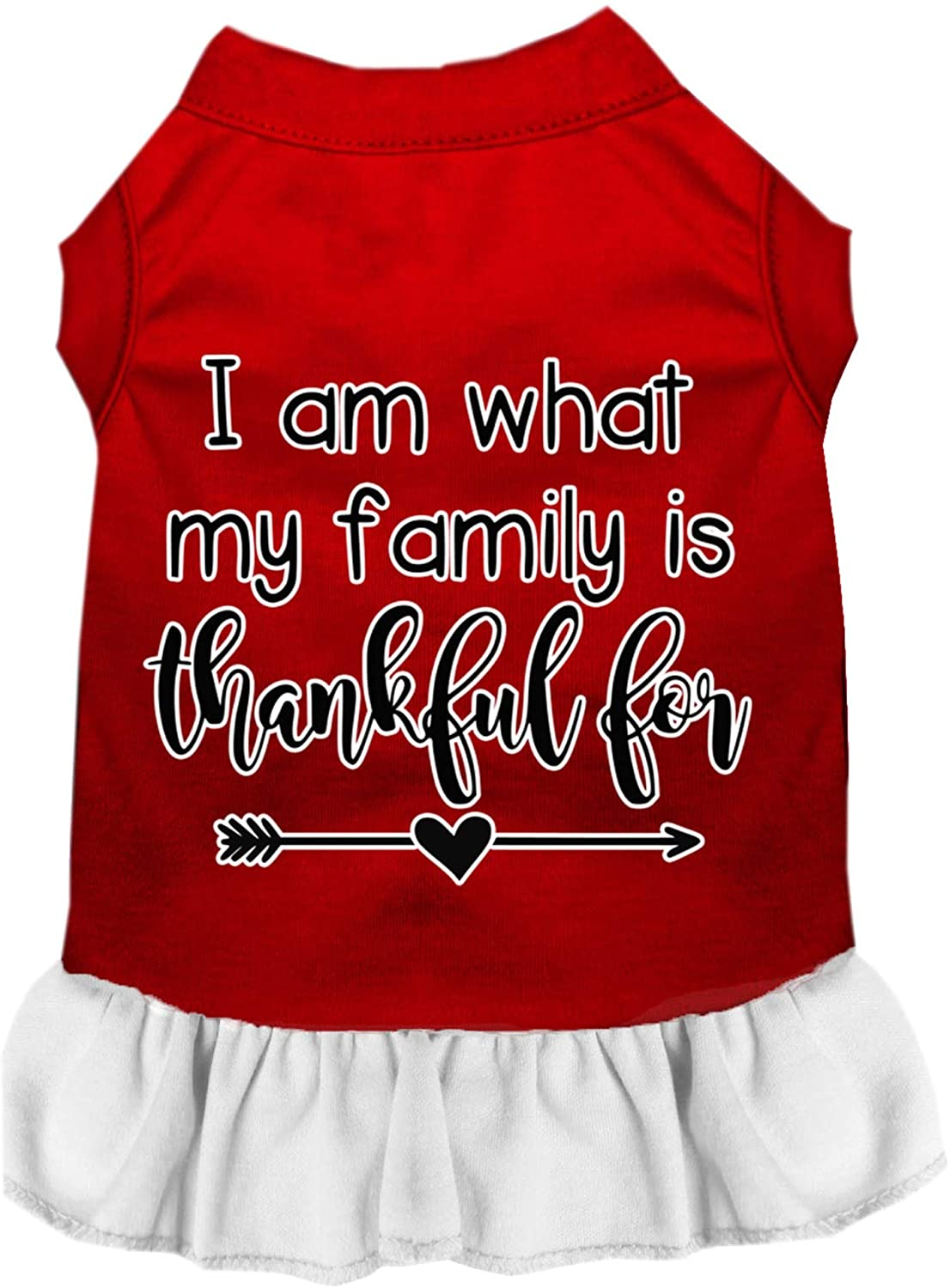 Mirage Pet Product I Am What My Family is Thankful for Screen Print Dog Dress Red with White XXL
