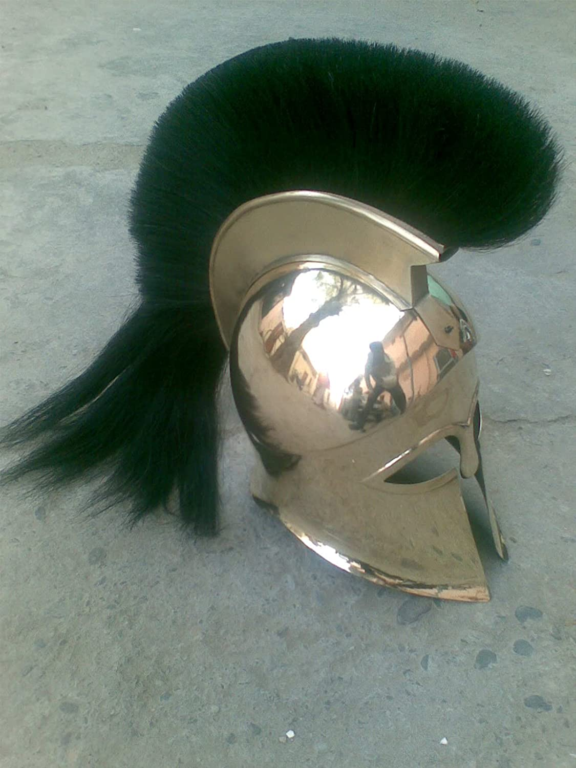 NauticalMart Medieval Greek Brass Corinthian Helmet with Black Plume