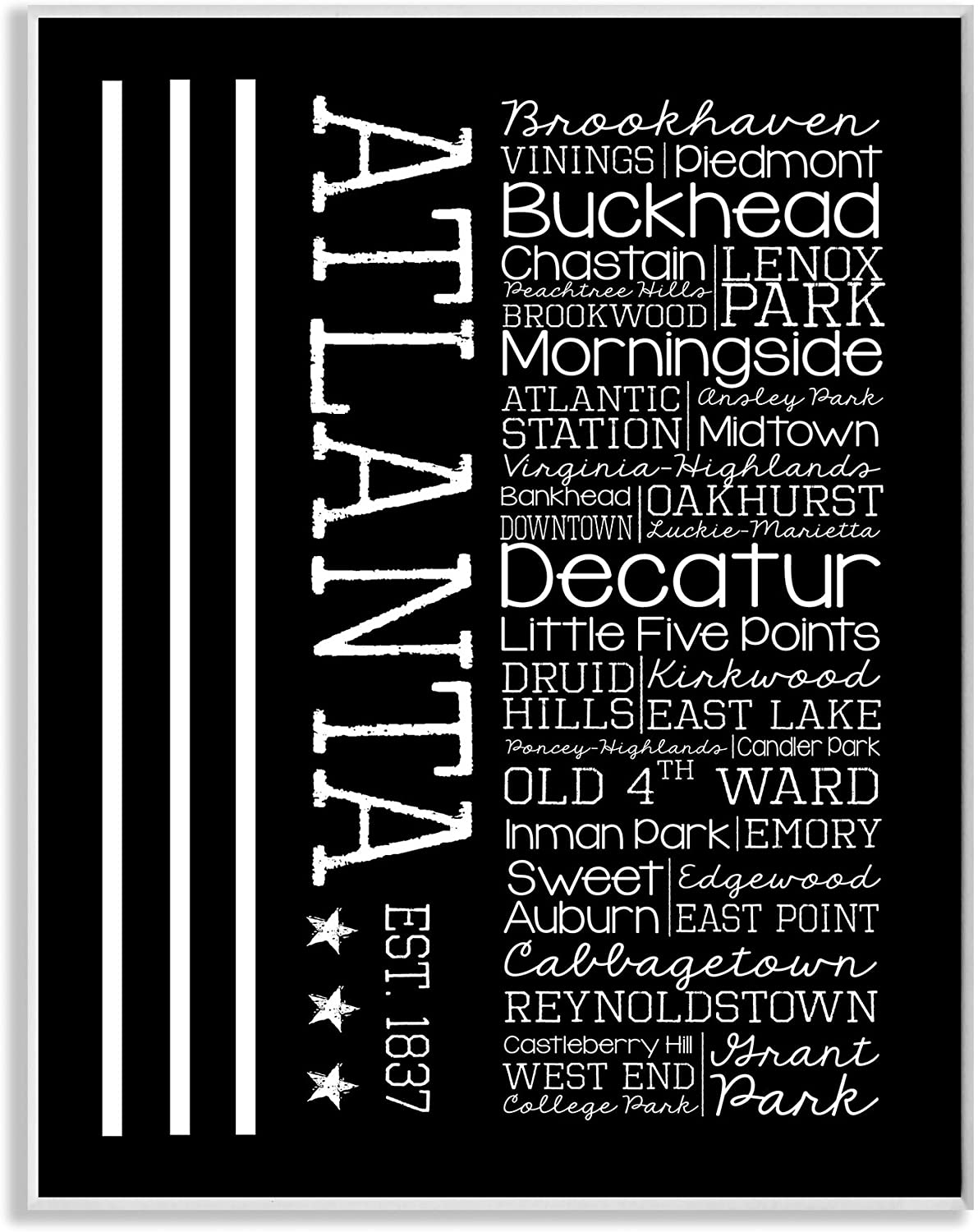 Stupell Home Décor Atlanta Words And Cities Typography Art Wall Plaque, 10 x 0.5 x 15, Proudly Made in USA