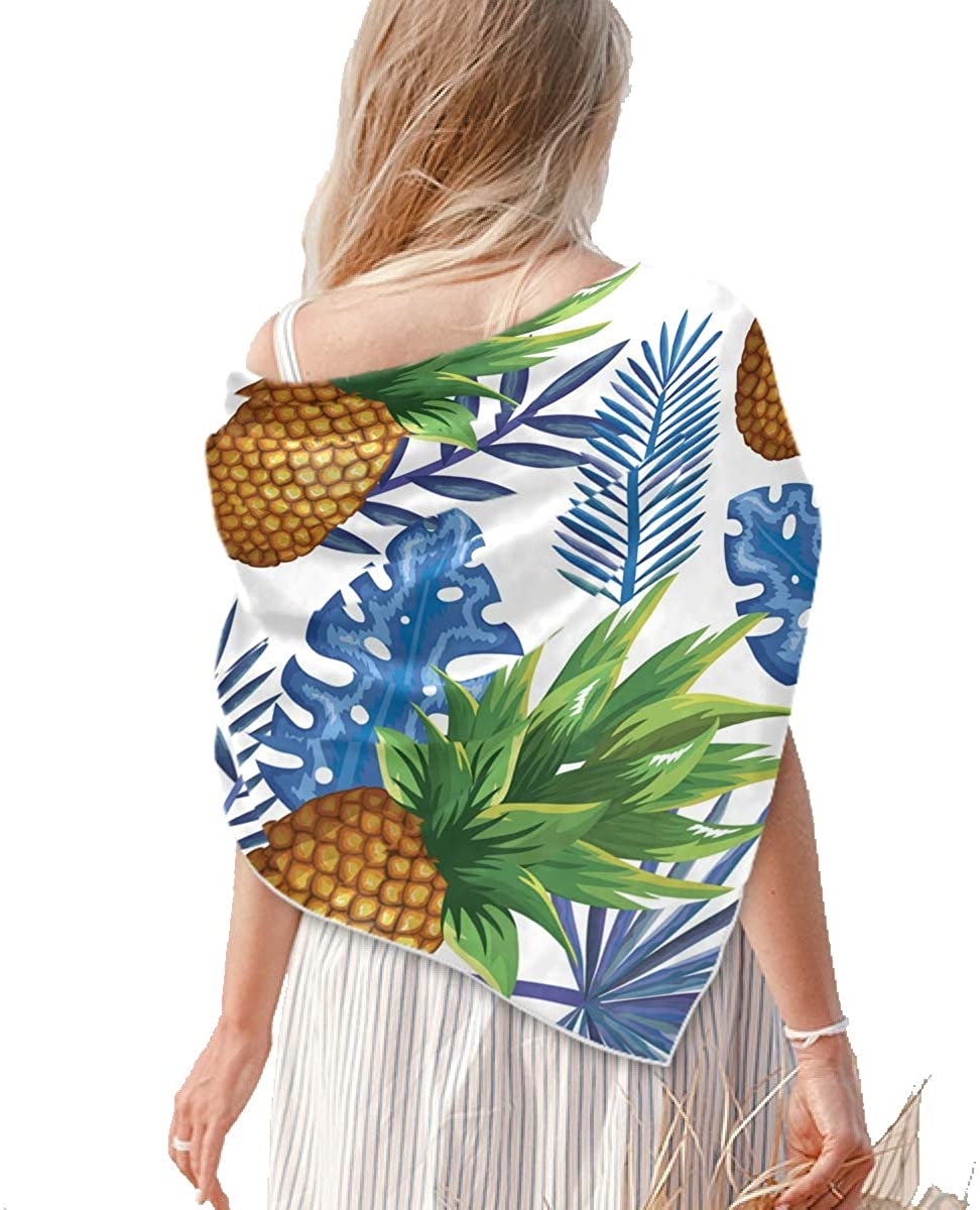 Square Silk Feeling Neckerchief - Women's Large Tropical Pineapple Square Scarf Shawl - Lightweight Real Silk Hair Scarfs Neckscarfs for Hair