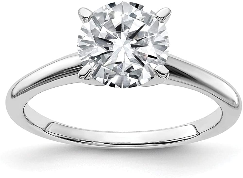 14k White Gold 10mm ROUND Moissanite Solitaire Engagement Ring Size 5 (3.6 cttw.)
