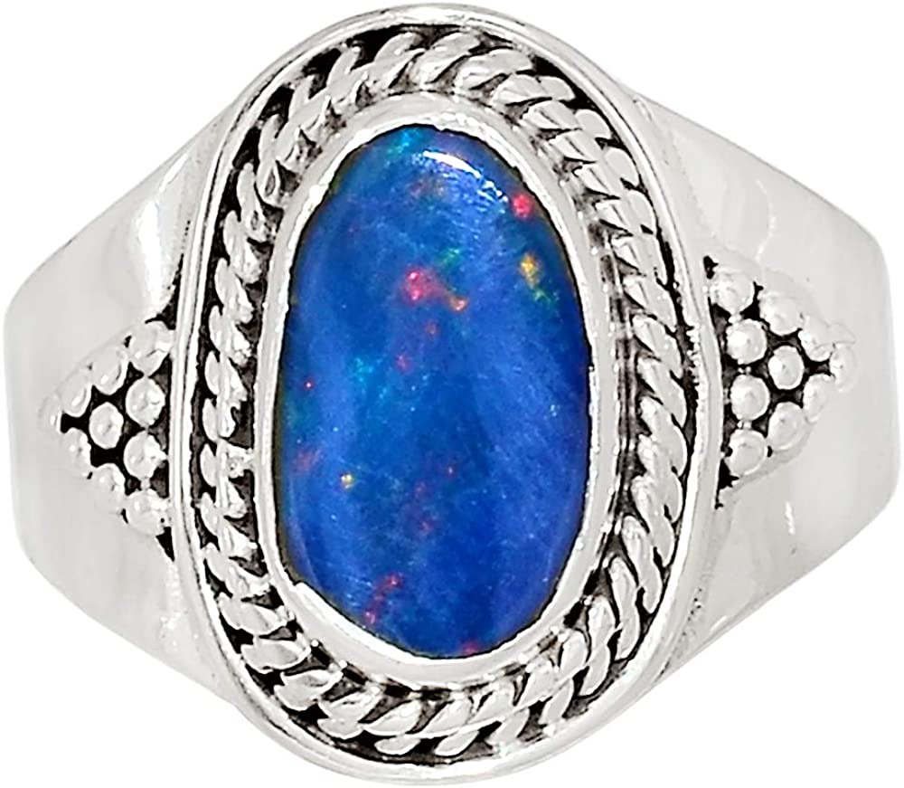 Xtremegems Australian Opal 925 Sterling Silver Ring Jewelry Size 7.5 33868R